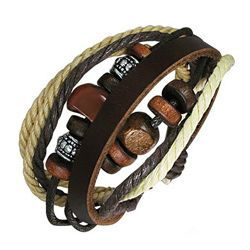 This handmade bracelet is crafted of genuine leather with wooden and stone beads and designed with a unique pattern and fitted with adjustable ties. Product Features: The neutral brown, ivory and beig