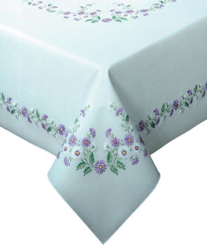 Tobin Rhapsody Stamped Oblong Tablecloth for Embroidery