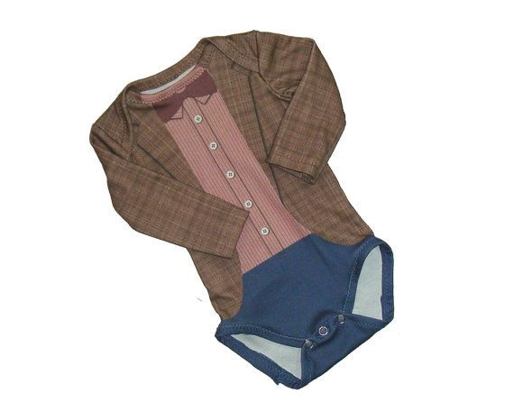 baby Time Lord long sleeve baby onesie newborn size by cichemom, $23.00