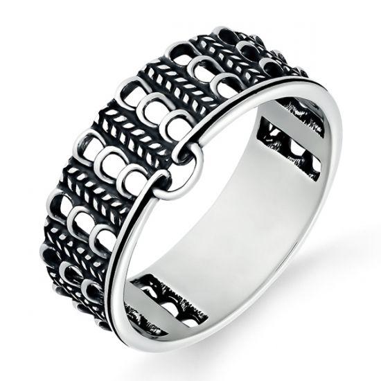Изящное кольцо Jersey с узором петельки из серебра 3401002077 / Серебряное кольцо в виде плетеного полотна
