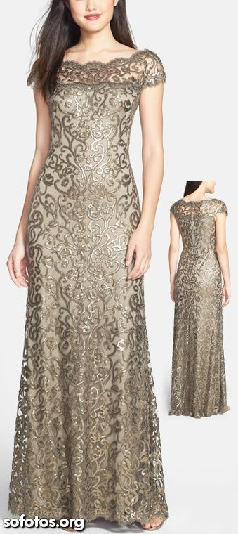 taupe and pewter dress with beautiful scrollwork embroidery detail
