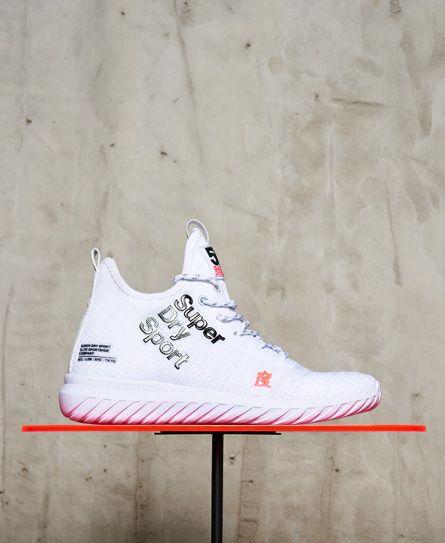 bbff6da91ae81f Superdry Nebulus Hybrid High Sneaker für Damen. Ein einteiliger Textilschuh  mit auffälligem Logo