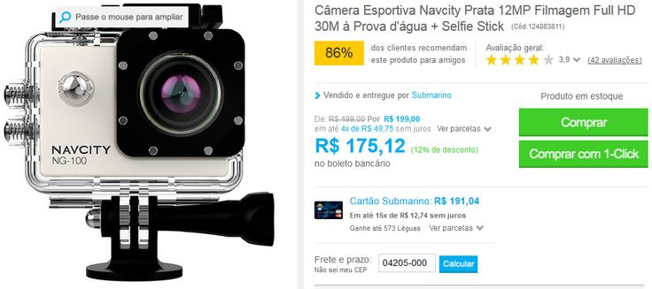 Câmera Esportiva Navcity Prata 12MP Filmagem Full HD 30M à Prova d'água + Selfie Stick >