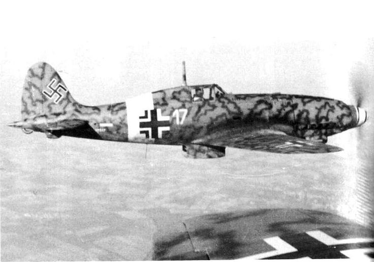 Macchi C205 Veltro in German markings after the Italian surrender, late 1943.  Powered by the same Mercedes Benz engine as the Bf 109G, in many respects it was superior, though radio equipment and armament were weak points.