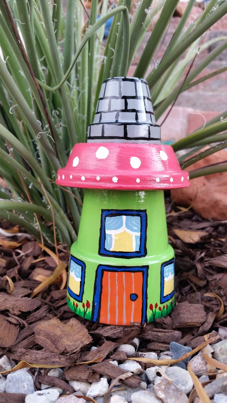 Garden Gnome House Clay Pot - yard art - garden decoration - terracotta pots. Image only.