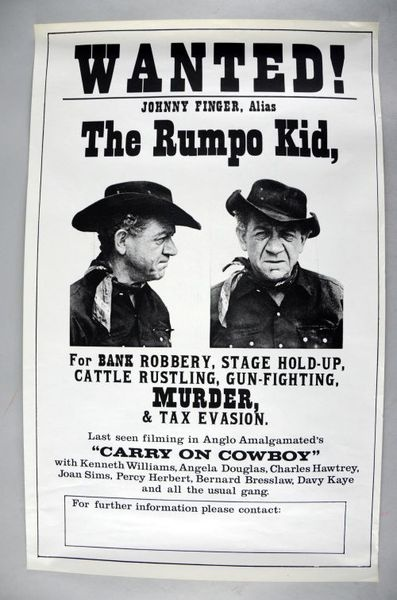 Carry On Cowboy (1966), British film poster, 15.5 x 24, starring Sid James #ukauctioneers #cowboys #retro