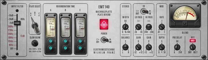 EMT® 140 Classic Plate Reverberator Plug-In -   Three Unique Plate Reverbs Captured in a Single, Powerful Plug-In - Nothing is quite like the wonderfully lush and distinctive tone of plate reverb, which still endures as part of the fabric of modern music.