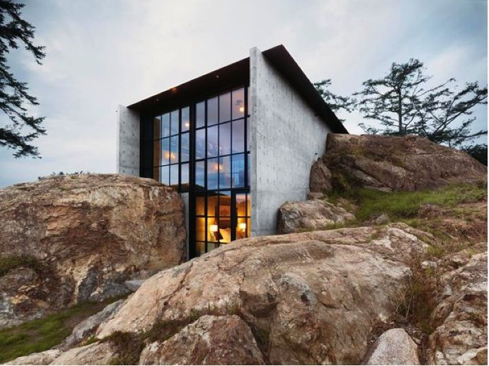 We could have this as the front overlooking the gully. No other windows (apart from the bathroom) needed!