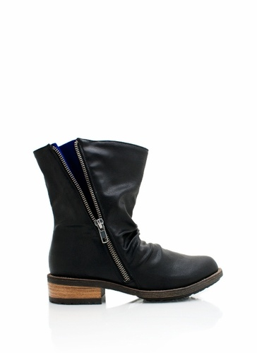 exposed zipper leather booties