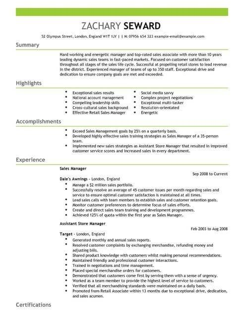 Sales Manager Cv Template Cv Samples Examples Firefighter Resume Resume Examples Manager Resume