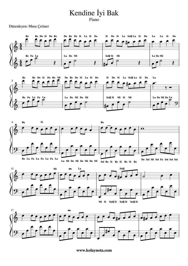 Kendine Iyi Bak Piyano Notasi Kolaynota Com Nota Arsivi Piyano Notalara Dokulmus Muzik Flut