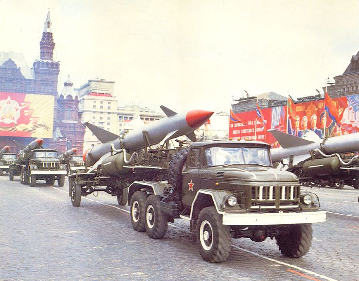 Soviet S-25 Berkut surface-to-air guided missiles on parade.