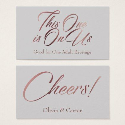 #Rose Gold Script on Light Gray Drink Ticket Cards - #wedding gifts #marriage love couples