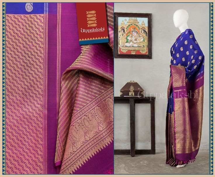 The body has a profusion of mango motifs, while the purple lower portion and pallu have line based zari work. Regal Annapakshis and leaf motifs decorate the pallu further.#Utppalakshi #Silksaree#Kancheevaramsilksaree#Kanchipuramsilks #Ethinc#Indian #traditional #dress#wedding #silk #saree #weaving#Chennai #boutique #vibrant#exquisit#weddingsaree#sareedesign #colorful #vivid #indian #southindian #bridal #festival #sophistication   https://www.facebook.com/Utppalakshi/  Contact: 097899 37149