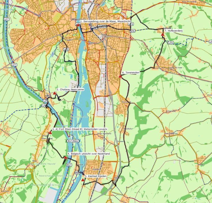 Maastricht – Eijsden (36 km) # Nederlands-Belgisch grensfietsrondje van het fraaie centrum van Maastricht naar Eijsden. Onderweg komt u langs kastelen, forten en heel veel natuurschoon.