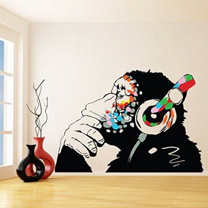 Banksy Vinyl Wall Decal Monkey With Headphones / Chimp Listening to the Music in Earphones / Street Graffiti Art Sticker + Free Decal Gift! (160x111 cm)