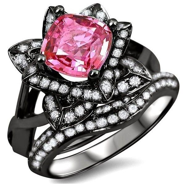 2.20ct Cushion Cut Pink Sapphire Lotus Flower Diamond Ring Bridal Set... ($3,195) ❤ liked on Polyvore featuring jewelry, rings, yellow gold diamond rings, engagement rings, 14k diamond ring, flower diamond ring and diamond bridal rings