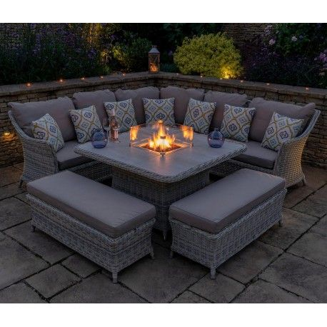 Fire Pit Table, Rattan Garden Furniture Set With Fire Pit Table