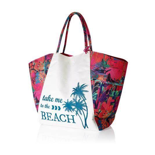 Saco de Praia Aruba   Saco de praia com padrão tropical vintage, em poliéster, inspirado no moderno formato de cesto. Espaçoso para levar todos os essenciais de praia/piscina, tais como revistas, chinelos, toalhas, garrafas de água e protetores solares. Base do saco com fecho-éclair e bolsa em rede para levar o biquíni ou protetores solares.