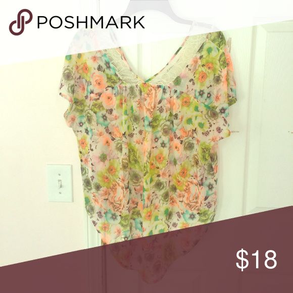 ASTR lace floral top Fun flirty floral w lace semi sheer top, slouchy fit one shoulder out option! Really cute on!!😍 ASTR Tops Blouses