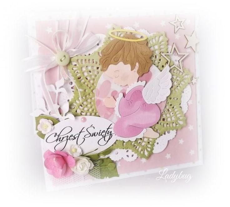 różowy Aniołek - kartka na chrzest – Kartki na chrzest - kolor: lilla, jasnozielony, biały, wymiary: 13x13cm – Artillo