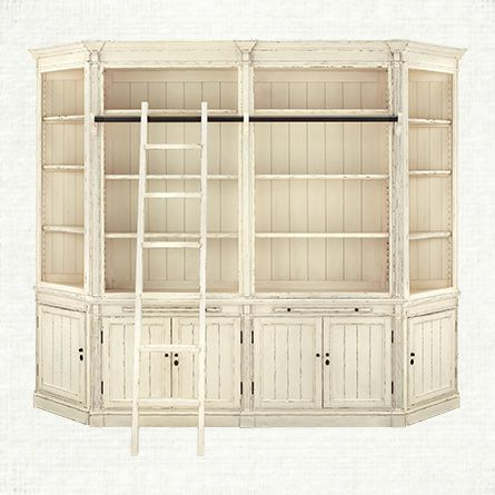 Athens Library With 2 End Angled Bookcases In French White