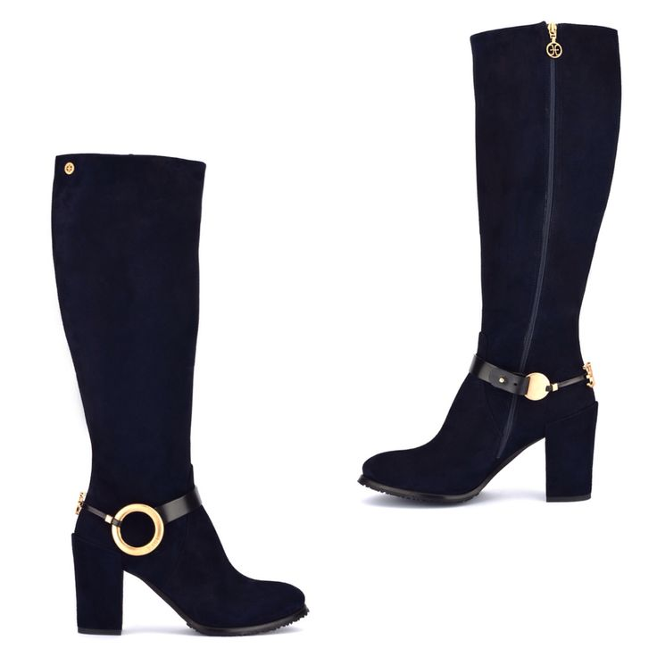 FABI WINTER BOOTS Soft suede knee-high boots. Loop strap at the ankle with gold-finish metal custom decorations. Side zip fastening. 70 mm column heel, leather sole with rubber insert.