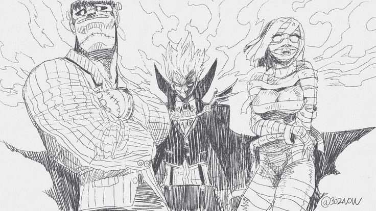 #mahwa #manga #illust #freshpaint #horror #Halloween #Frankenstein #Vampire #mummy #character