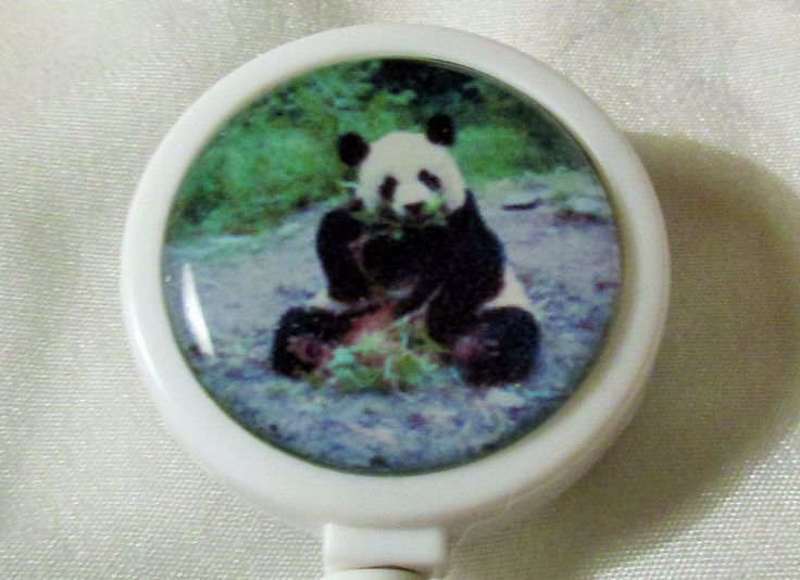 PANDA BEAR Badge ID Reel Large Face plastic holder work card pull USA bamboo zoo #Handmade