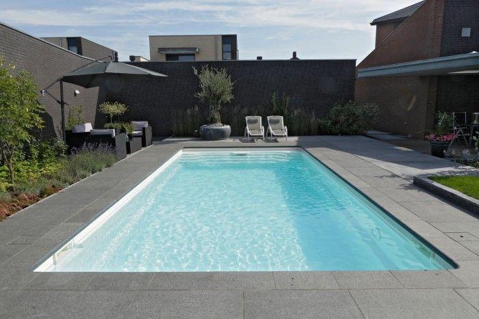 Zwembad in de tuin van een rijtjeshuis. Om een zwembad in je tuin te plaatsen hoef je echt niet op een enorm landgoed te wonen. dit zwembad is in de tuin van een rijtjeshuis geplaatst. Starline