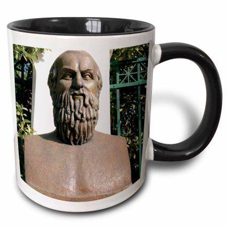 3dRose Aeschylus, Classical Athens Bust, Statue, Athens, Greece - HI02 PRI0000 - Prisma, Two Tone Black Mug, 11oz