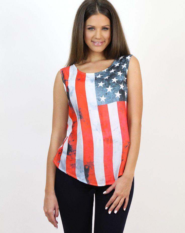 USA Flag Sleeveless Top- www.famevogue.ro - if you like the patriotic theme...:)  #tops #style #trends #fashion #casual #moda