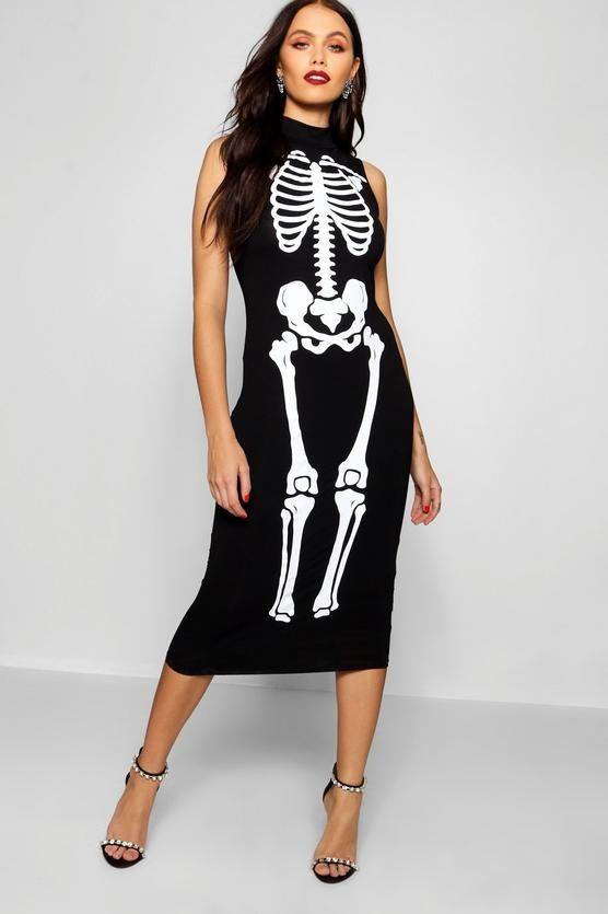 a5969a978e658 Halloween Skeleton Print High Neck Midi Dress - boohoo, halloween, halloween  costume ideas, what to wear for halloween, last minute costume ideas