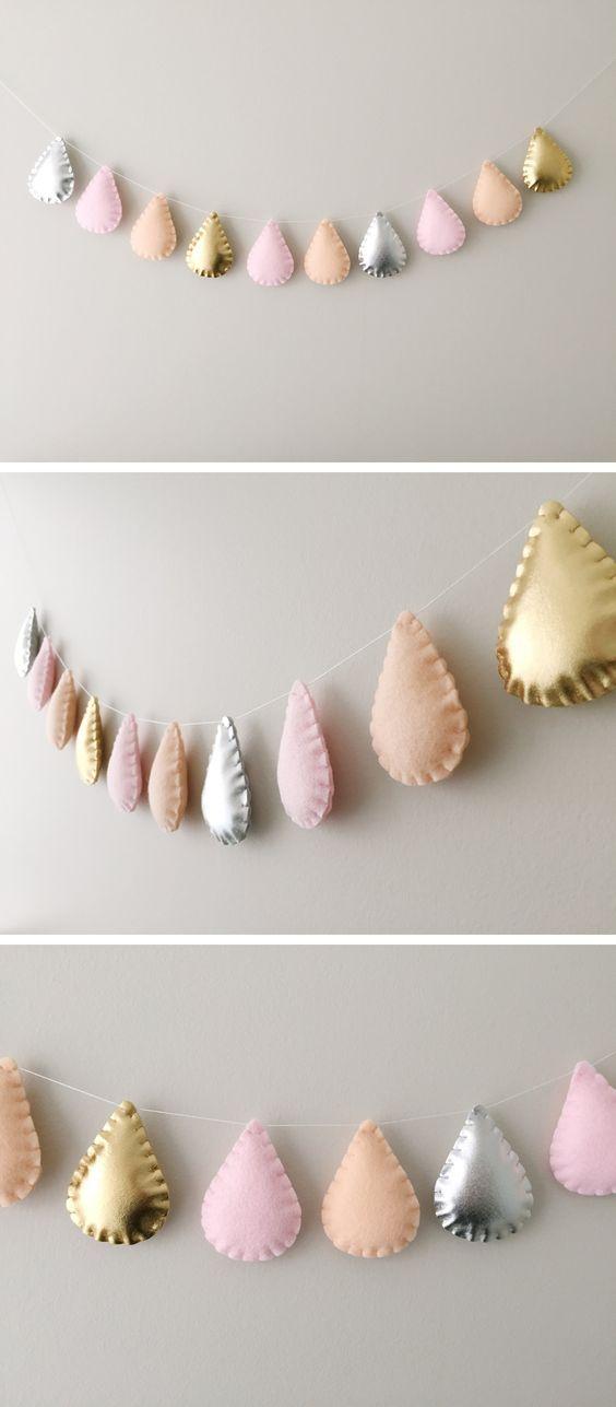 Modern Scandi Nursery Raindrops Garland, Metallic Silver, Gold, Pink and Peach, Children and Baby Room Decor, Baby Shower