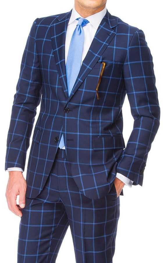 Classic blue windowpane suit white shirt and light blue tie ... 967a90859