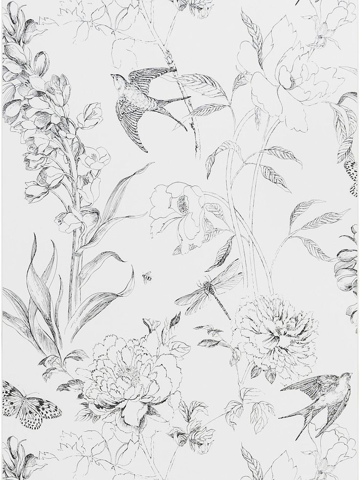 Designers Guild Jardin des Plantes Sibylla Garden Paste the Wall Wallpaper, Black / White PDG721/01