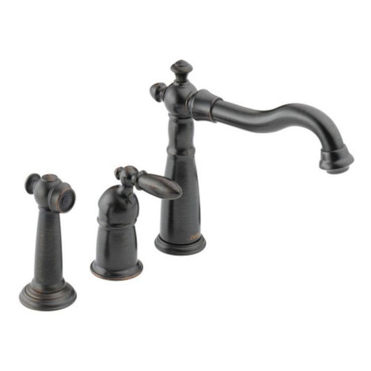 Delta Victorian 155-DST Single Handle Kitchen Faucet with Side Spray - Venetian Bronze - D155RBDST