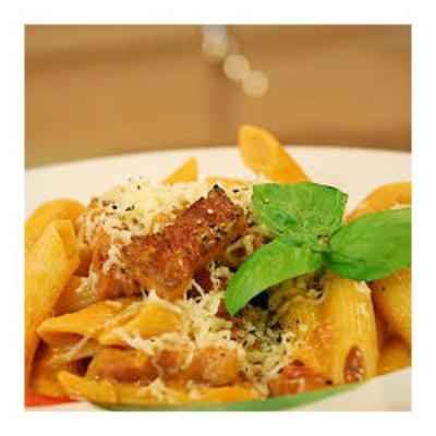 #recipe #food #cooking Penne and Vodka Sauce: Tomatoes Sauces, Serving Warm, Parmesan Chee, Lights Sauteed, Grateful Parmesan, Flavored Sauces, Salty Pancetta, Lights Sauted, Boiled Penn