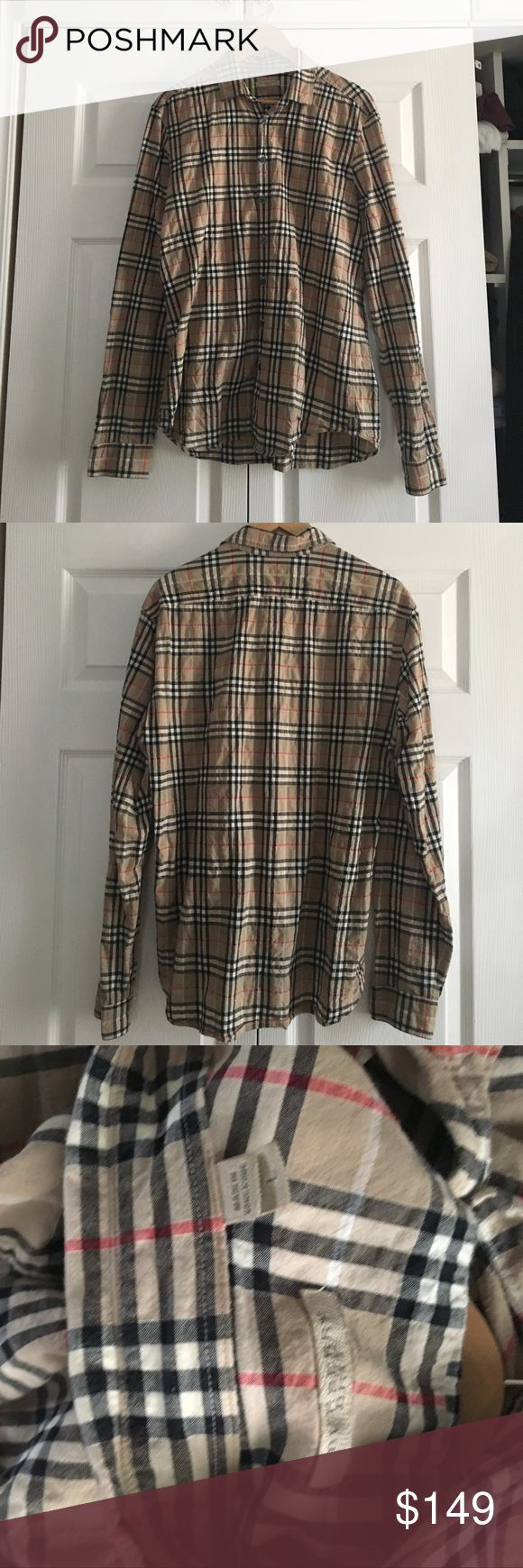 Burberry Brit Long sleeve shirt for men Burberry Brit long sleeve shirt for men. Pre owned may show some signs of wear. No stains, damages or tears. Camel color check shirt. Size Large.  authentic. No trades please. Need ironing. The color not vibrant. Burberry Shirts Casual Button Down Shirts