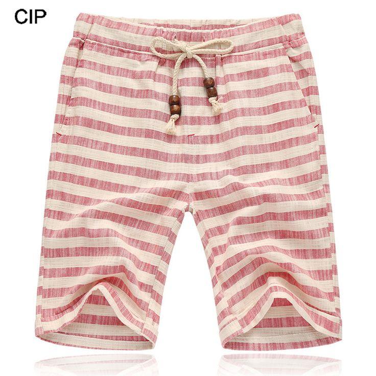 2017 Black White Men Striped Linen Shorts Knee Length Large Size Summer Casual Breathable Straight Boardshort Beach Shorts Men #Affiliate