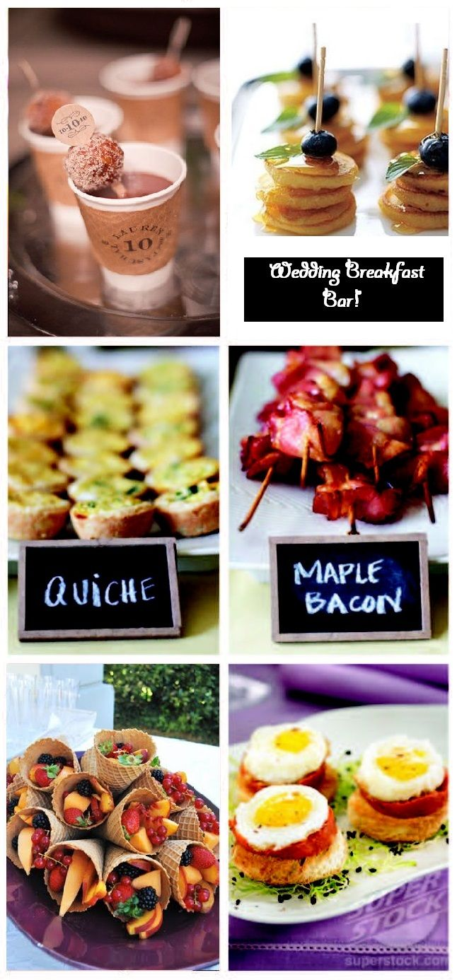Wedding Breakfast Bar!  Upper left: Hot Chocolate bar, donuts on skewers in the cups. Optional marshmallows, whipped cream, cinnamon sticks, bowls of shaved chocolate. Upper Right: Buttermilk pancakes. Replace blueberries with strawberries or raspberries. Different kinds of syrup available.  Middle left: see link Middle right (optional sriracha): http://www.pillsbury.com/recipes/spicy-maple-bacon/7a65bc77-4f3f-4cbb-a398-eaae3b0e7806