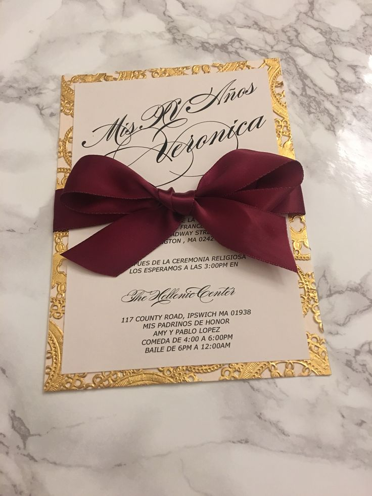 Sweet 16 invitation card printed on double layer blush cardstock + gold lasercut and finished with a beautiful burgundy silk ribbon  #sweet16invitationcard