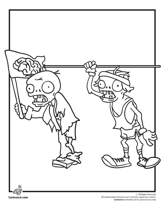 Plants Vs Zombies Zombie Characters Coloring Page