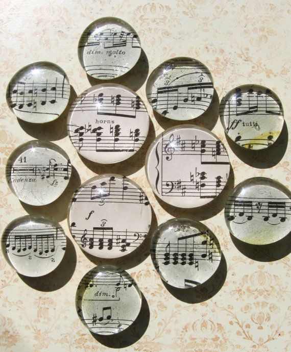 Vintage Sheet Music Music Theme Glass Magnet by AKAdecorativeart, $24.00