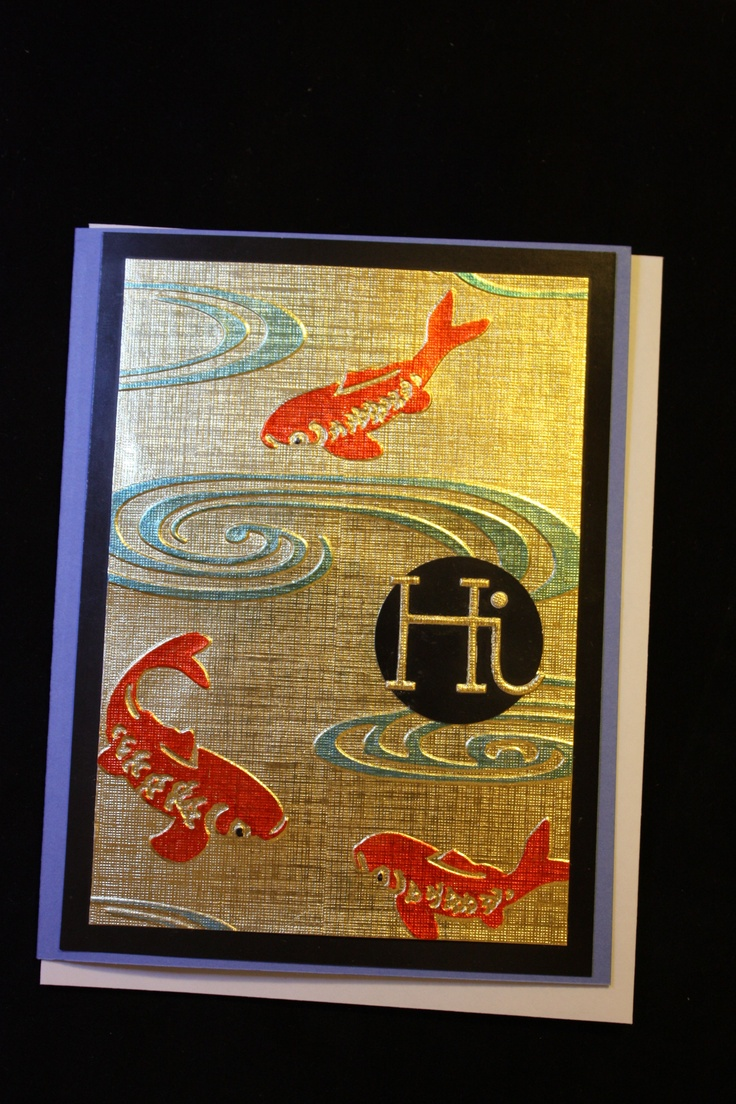 Cuttlebug embossing folder Japanese fish pond Permanent sharpies on gold card stock