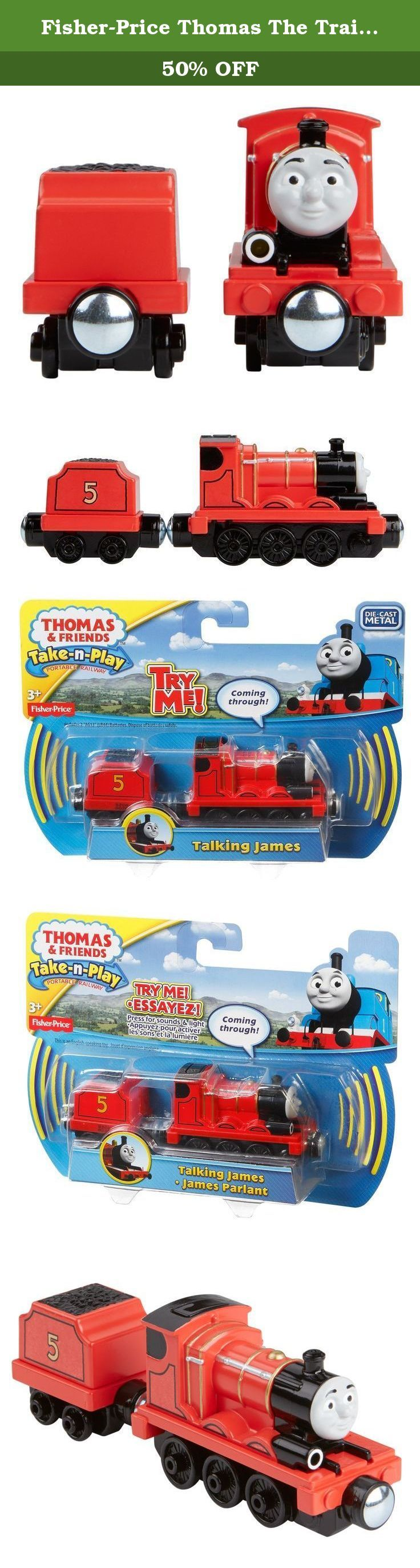 "Fisher-Price Thomas The Train Take-N-Play Talking James. James comes to life as a die-cast metal train engine with phrases, whistles and fun engine sounds! James features a working light. Press the button to hear James' signature phrases in his very own voice! Perfect for Take-n-Play Portable Fold-Out Playsets (sold separately and subject to availability). Requires 2 ""AG13"" (LR44) batteries. Ages 3+."
