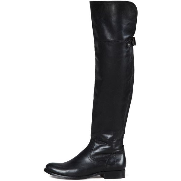 Frye Melissa Over-the-Knee Boot (705 CAD) ❤ liked on Polyvore featuring shoes, boots, black, thigh boots, black thigh high boots, black low heel boots, over the knee stretch boots et thigh high boots