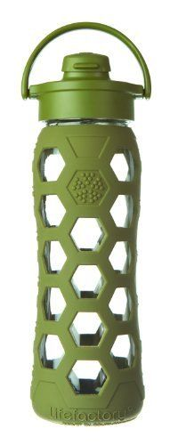 Lifefactory 22-Ounce Glass Beverage Bottle with Flip Top Cap, Olive by Lifefactory Kitchen, http://www.amazon.com/dp/B0070TZ7LQ/ref=cm_sw_r_pi_dp_y95urb0MBYMJZ