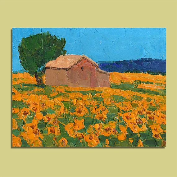 Provence Sunflowers Painting Original Oil Painting Landscape