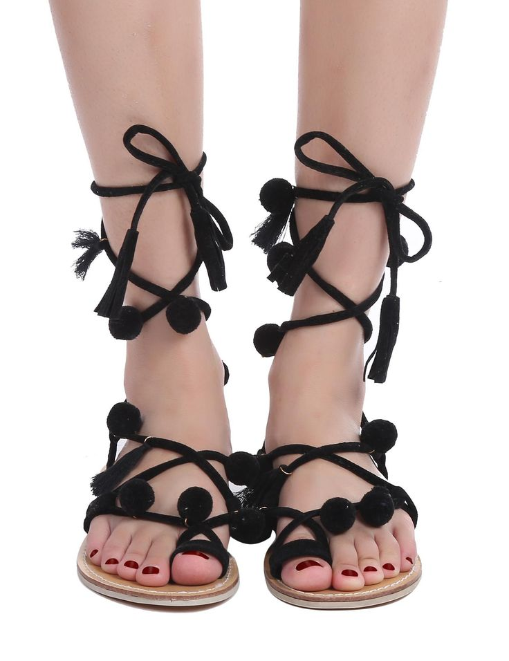 Pom Pom Decorated Flat Gladiator Sandals
